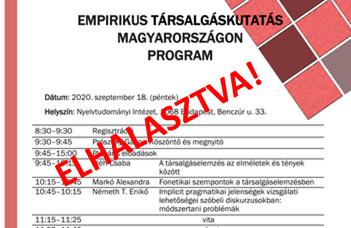 Elhalasztva: Empirikus társalgáskutatások Magyarországon szimpózium